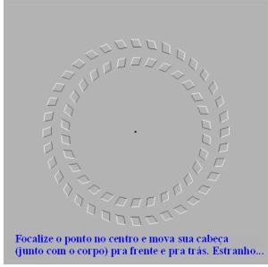 Focalize o ponto no centro e mova sua cabeça (junto com o corpo) para frente e para trás. [Clique na imagem para ampliá-la.]