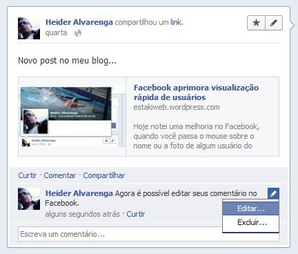 Facebook agora permite que você edite seus comentários