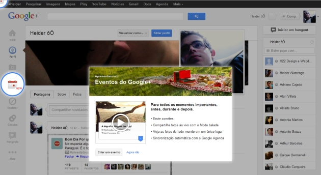 Eventos no Google +
