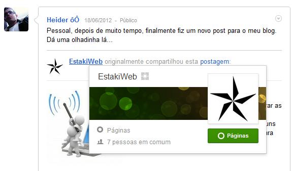 Google+ Visualização Rápida do Usuário
